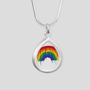 Rainbow Silver Teardrop Necklace