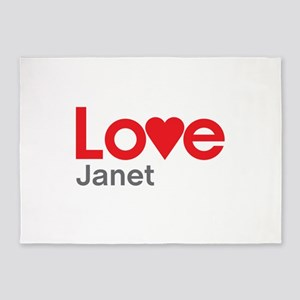 I Love Janet 5'x7'Area Rug