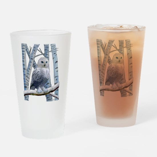 BLUE-EYED SNOW OWL Drinking Glass
