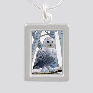 BLUE-EYED SNOW OWL Silver Portrait Necklace