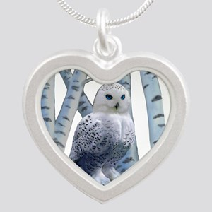 BLUE-EYED SNOW OWL Silver Heart Necklace