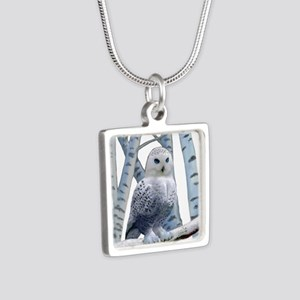BLUE-EYED SNOW OWL Silver Square Necklace