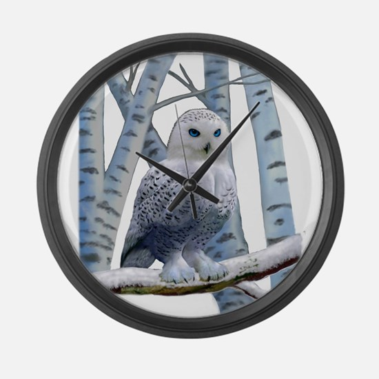 BLUE-EYED SNOW OWL Large Wall Clock