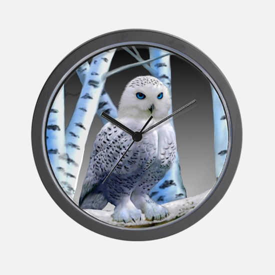 BLUE-EYED SNOW OWL Wall Clock
