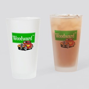 Woodward Red Hotrod Drinking Glass