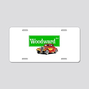 Woodward Red Hotrod Aluminum License Plate