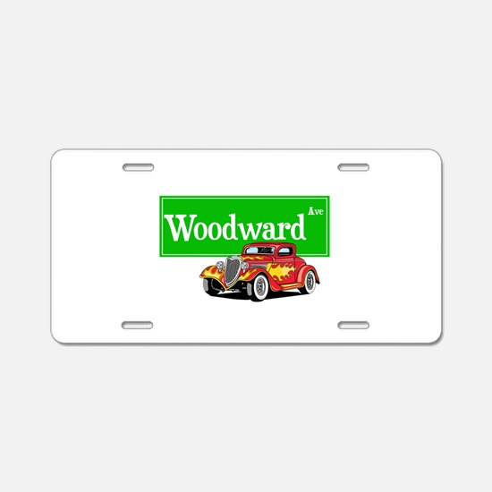 Woodward Red Hotrod Aluminum License Plate