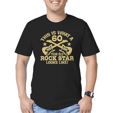 60 Year Old Rock Star Men's Fitted T-Shirt (dark)