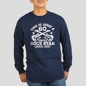 60 Year Old Rock Star Long Sleeve Dark T-Shirt