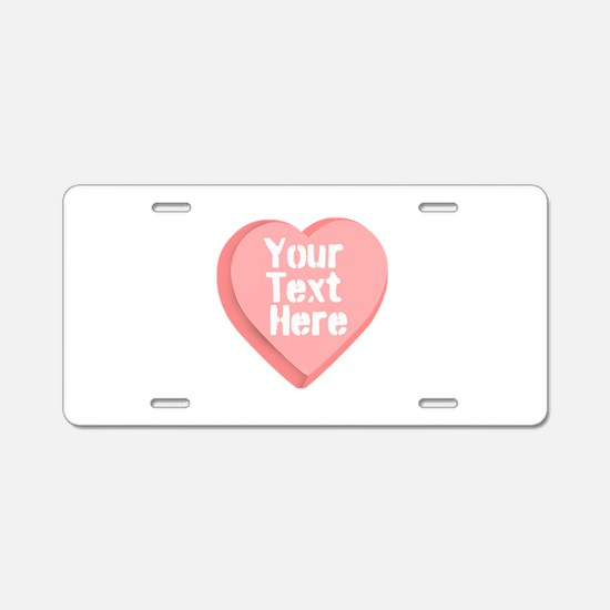 Candy Heart Aluminum License Plate