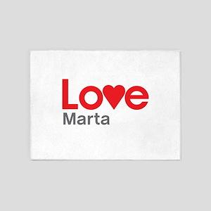 I Love Marta 5'x7'Area Rug