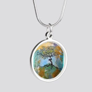 tree ! tree of life, art! Silver Round Necklace