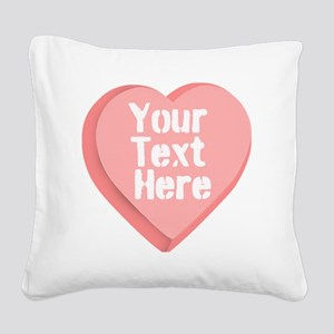 Candy Heart Square Canvas Pillow
