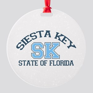 Siesta Key - Varsity Design. Round Ornament