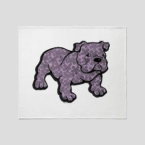 Flower bulldog Throw Blanket