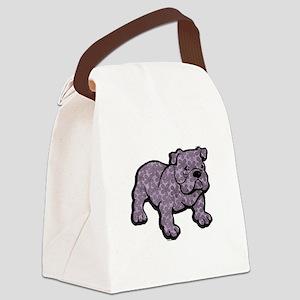 Flower bulldog Canvas Lunch Bag