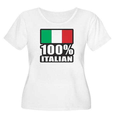 100% Italian Women's Plus Size Scoop Neck T-Shirt