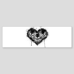 Black Skull Heart Grunge Bumper Sticker