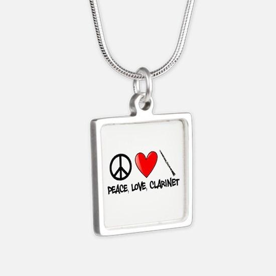 Peace, Love, Clarinet Silver Square Necklace