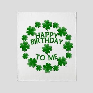 Shamrocks Happy Birthday to Me Throw Blanket
