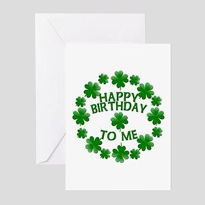 Shamrocks Happy Birthday to Me Greeting Cards (Pk