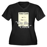 On The Clock Women's Plus Size V-Neck Dark T-Shirt