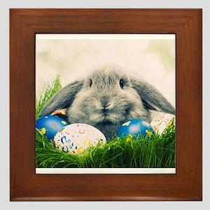 bunny and eggs Framed Tile