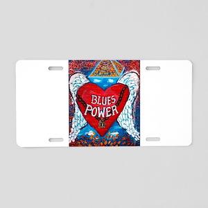 Blues Power Aluminum License Plate