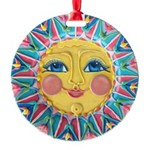 Sun face - Spring Round Ornament