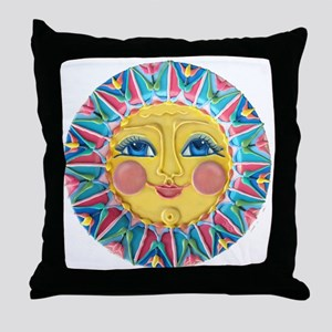 Sun face - Spring Throw Pillow