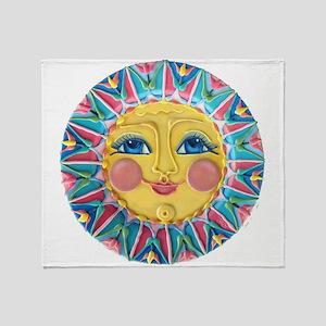 Sun face - Spring Throw Blanket