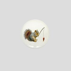 Fishing Squirrel Mini Button