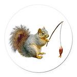 Fishing Squirrel Round Car Magnet