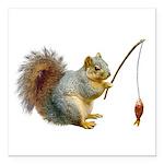Fishing Squirrel Square Car Magnet 3