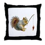 Fishing Squirrel Throw Pillow