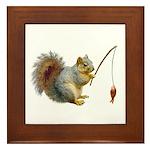 Fishing Squirrel Framed Tile