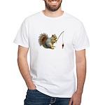 Fishing Squirrel White T-Shirt