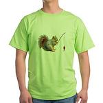 Fishing Squirrel Green T-Shirt