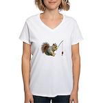 Fishing Squirrel Women's V-Neck T-Shirt