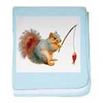 Fishing Squirrel baby blanket