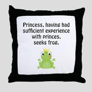 Princess Frog Throw Pillow