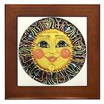 Sun Face #2 (blk) Framed Tile