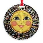 Sun Face #2 (blk) Round Ornament