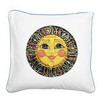 Sun Face #2 (blk) Square Canvas Pillow