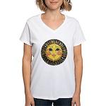 Sun Face #2 (blk) Women's V-Neck T-Shirt