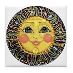 Sun Face #2 (blk) Tile Coaster