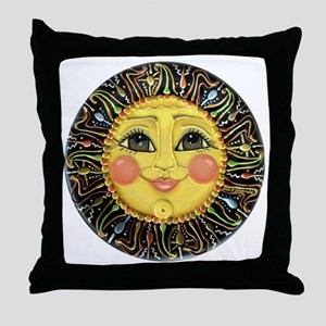 Sun Face #2 (blk) Throw Pillow