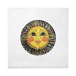 Sun Face #2 (blk) Queen Duvet