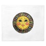 Sun Face #2 (blk) King Duvet