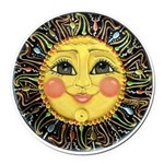 Sun Face #2 (blk) Round Car Magnet